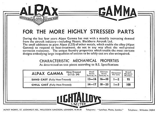 Light Alloys.  Alpax (Modified Aluminium Silicon Alloy)