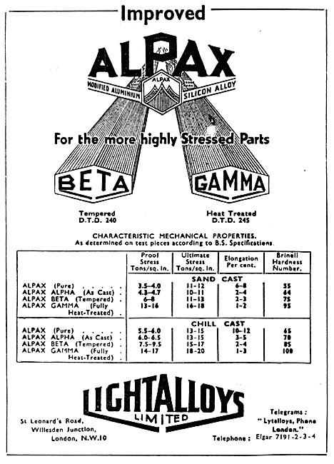 Light Alloys Ltd Alpax (Modified Aluminium Silicon Alloy)