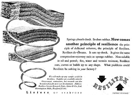 Listers Resilitex Rubber Substitute Aircraft Components