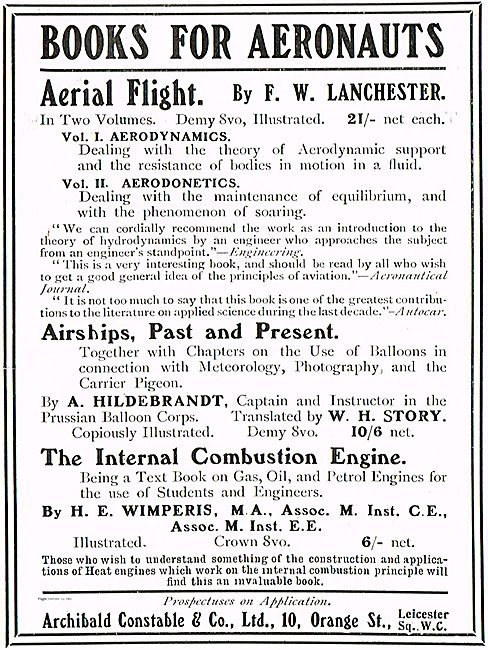Books For Aeronauts: Aerial Flight By F.W. Lanchester