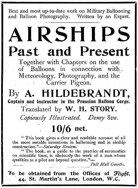 Airships Past And Present By A. Hildebrandt 10/6 net