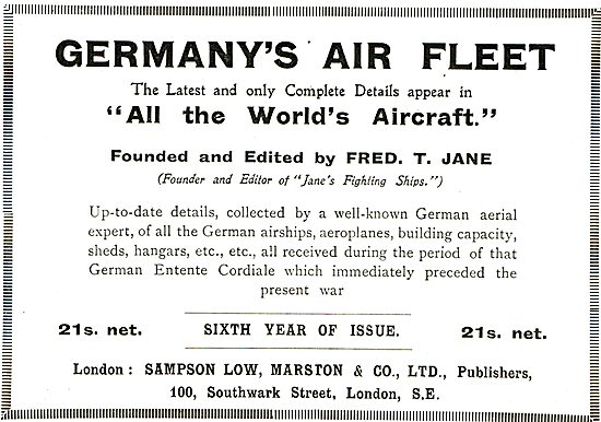 Germany's Air Fleet Edited By Fred T.Jane 21/- Net