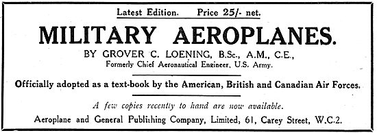 Military Aeroplanes By Grover C. Loening