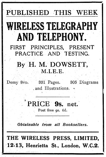 Wireless Telegraphy & Telephony By H.M.Dowsett