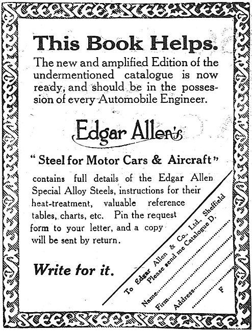 Steel For Motor Cars & Aircraft By Edgar Allen