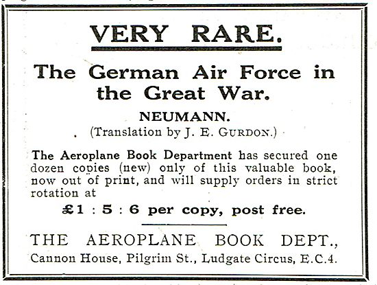 The German Air Force In The Great War - Very Rare £1:5:6 Per Copy