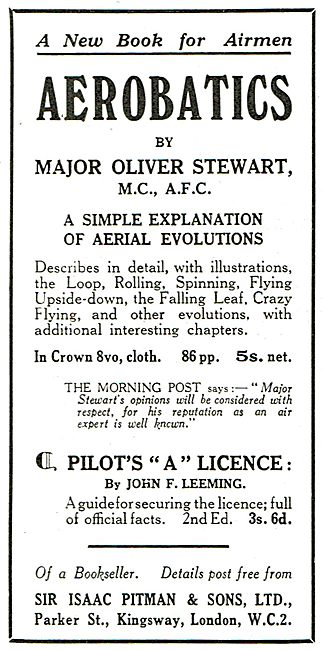 Aerobatics By Major Oliver Stewart  5s Net