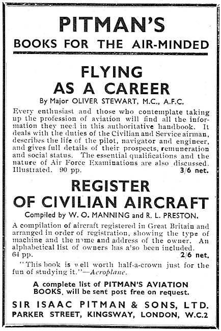 Flying As A Career By Major Oliver Stewart MC AFC