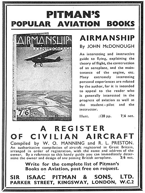 A Register Of Civilian Aircraft By W.O. Manning & R.L.Preston