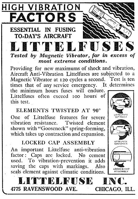 Littlefuse Aircraft Fuses 1943 Advert