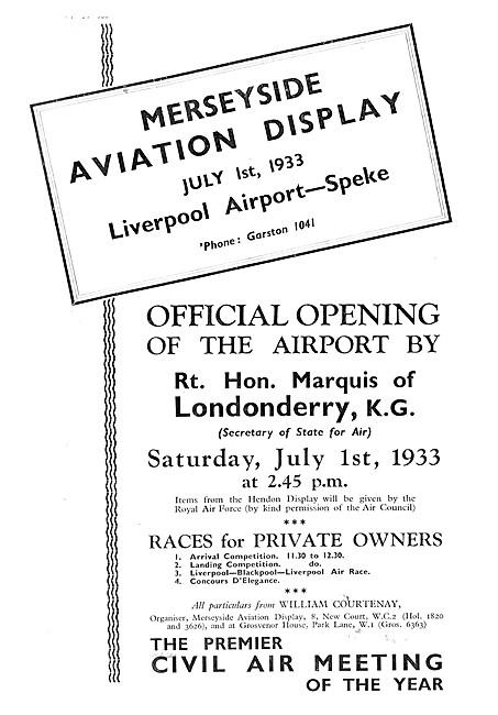 Merseyside Aviation Display July 1st 1933 - Liverpool Speke