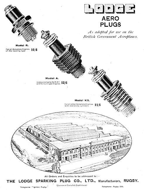 Lodge Aero Engine Sparking Plug  Advertisement 1916