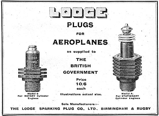 Lodge Model G Spark Plugs For Rotary Cylinder Aero Engines