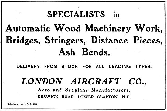 London Aircraft Co. Specialists In Automatic Wood Machinery Work
