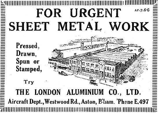 The London Aluminium Co Ltd. Sheet Metal Work For Aircraft
