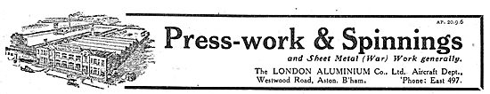 The London Aluminium Co Ltd - Aircraft Press-Work & Spinnings