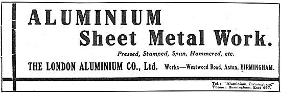 The London Aluminium Company. Sheet Metal Work