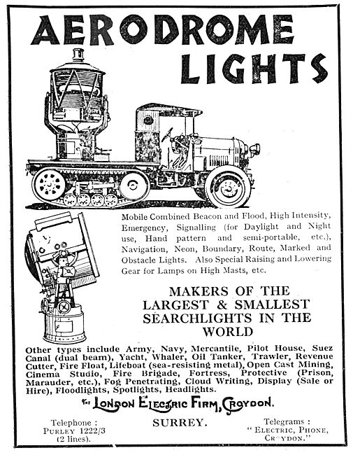 London Electric  Aerodrome Lighting 1929