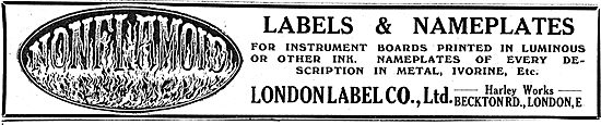 London Label Co Ltd. Labels & Nameplates For Aeroplanes