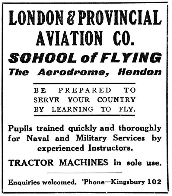 London & Provincial School Of Flying Hendon 1915