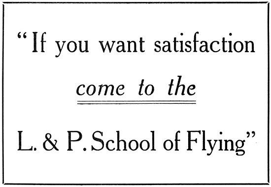 London & Provincial School Of Flying L & P Flying School 1915