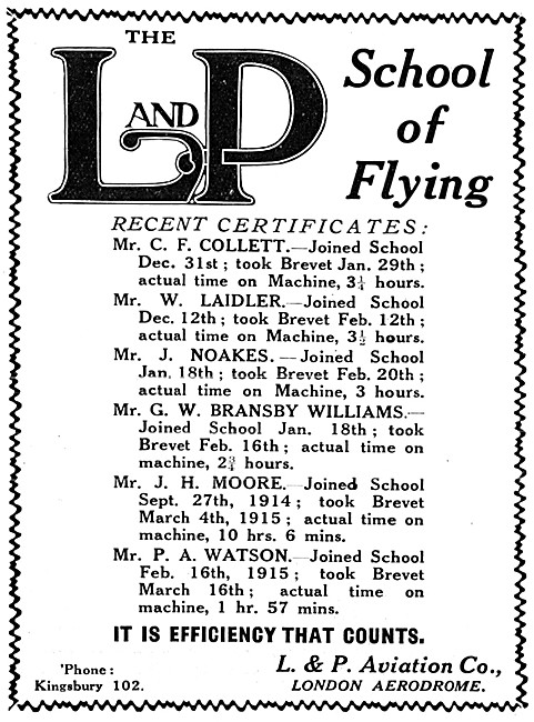 London & Provincial School Of Flying - L & P School Of Flying