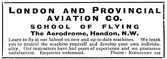 London & Provincial School Of Flying Hendon