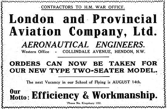 London & Provincial School Of Flying 1916- Aircraft Manufacturer