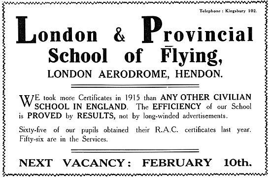 London & Provincial School Of Flying - Hendon 1916