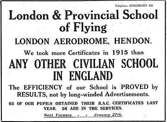 London & Provincial School Of Flying Hendon. RAC Certificates