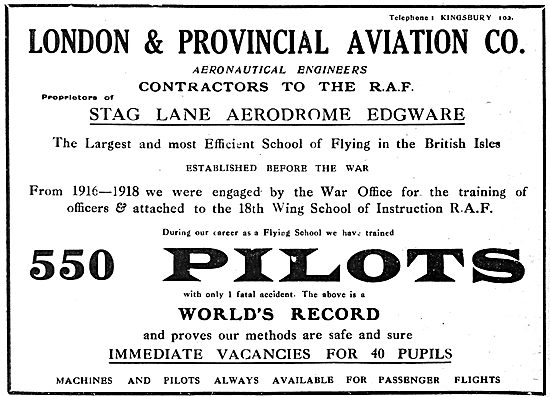 London & Provincial Aviation School Of Flying Stag Lane. 1919