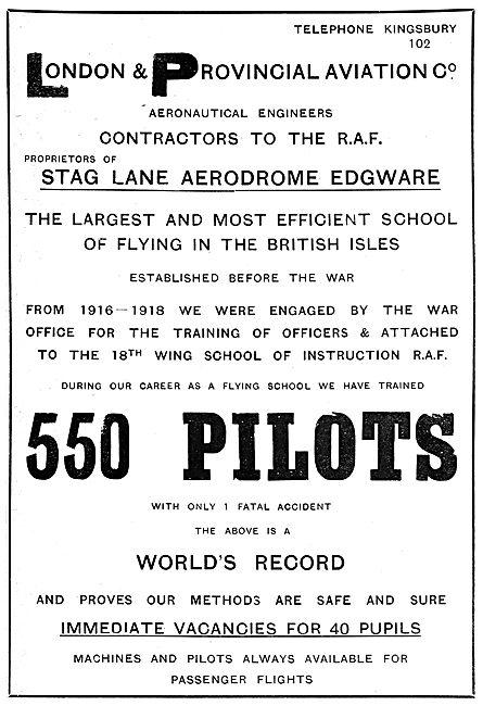 London & Provincial School Of Flying - Aeronautical Engineers