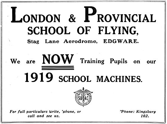 London & Provincial School Of Flying - Stag Lane