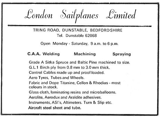London Sailplanes. Aircraft Welding, Machining & Supplies