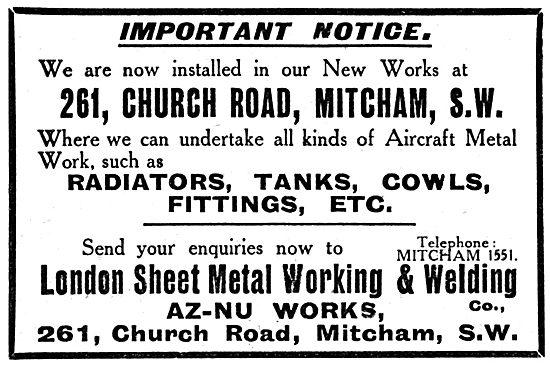 London Sheet Metal Working & Welding Co. 261, Church Rd, Mitcham
