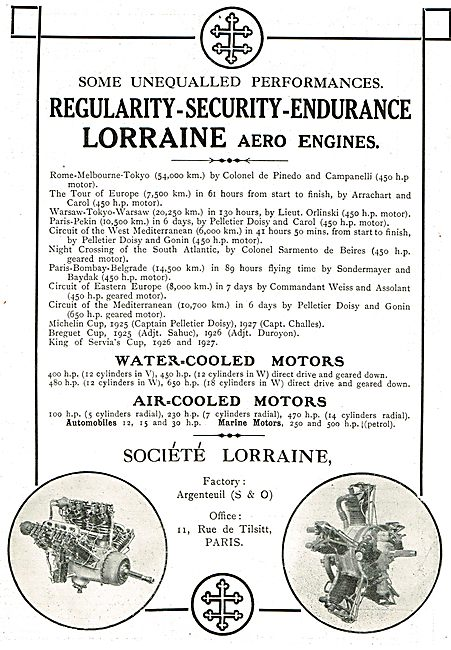 Lorraine Aero Engines Unequalled  For Security & Endurance