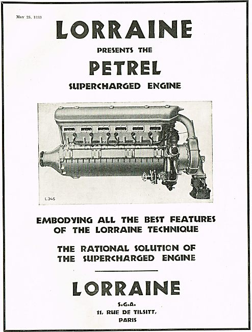 Lorraine Petrel Supercharged Aero Engine