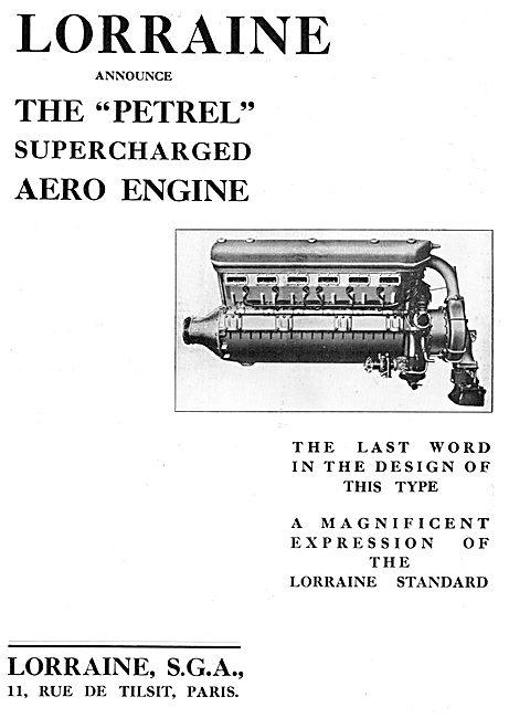 Lorraine Petrel Supercharged Aero Engine 1933