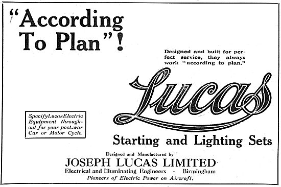 Lucas Electrical Equipment - 1918