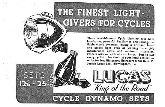 Lucas Cycle Dynamo Lighting Sets