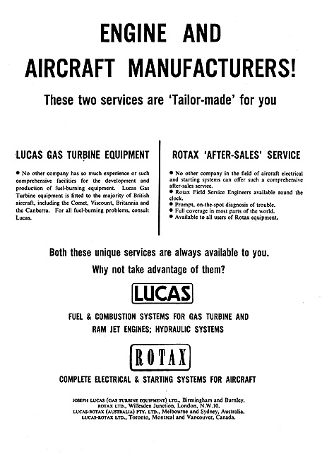 Lucas Fuel Systems Rotax Electrical Equipment