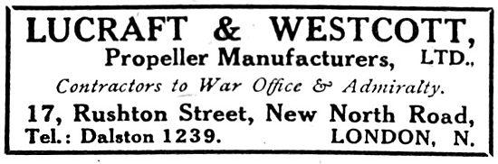 Lucraft & Westcott. Propeller Manufacturers - 1916