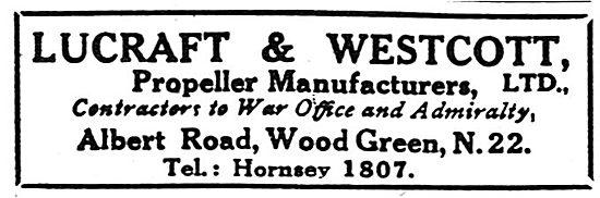 Lucraft & Westcott. Propeller Manufacturers - 1918 Advert