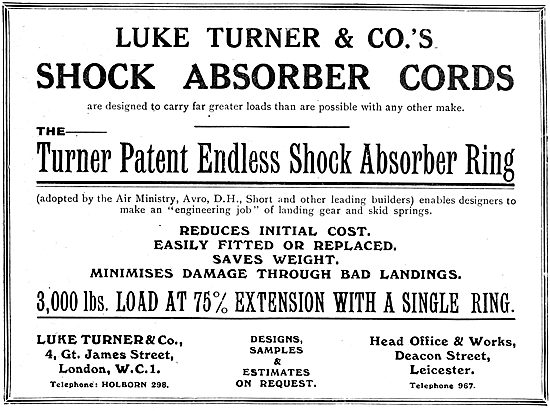 Luke Turner & Co - Aircraft Shock Absorber Cords. 1919