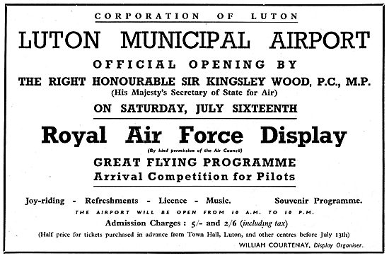 Luton Municipal Airport - Official Opening July 16th 1938