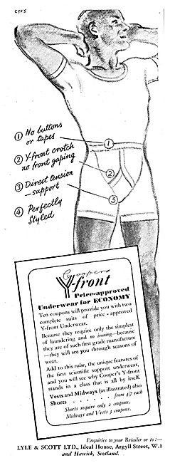 Lyle And Scott Y-Front Underwear. Coopers Y-Front 1942 Advert