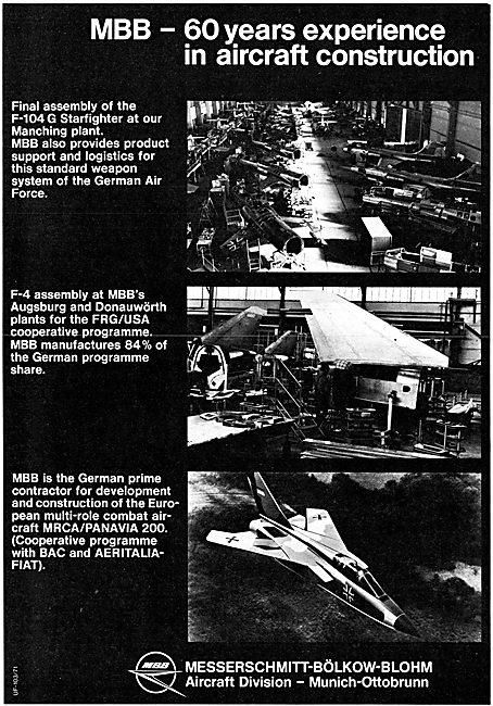 MBB Messerschmitt-Bolkow-Blohm Aerospace Programmes 1971