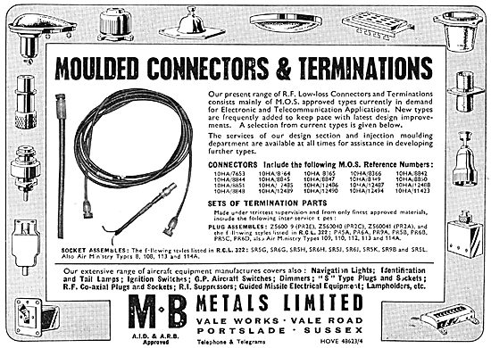 M.B.Metals Moulded Connectors & Terminations Etc