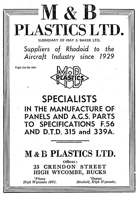 M & B Plastics Rhodoid Suppliers To the Aircraft Industry