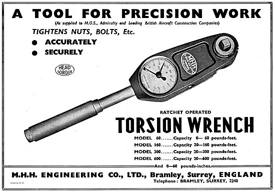 M.H.H. Engineering Ratchet Operated Torsion Wrench